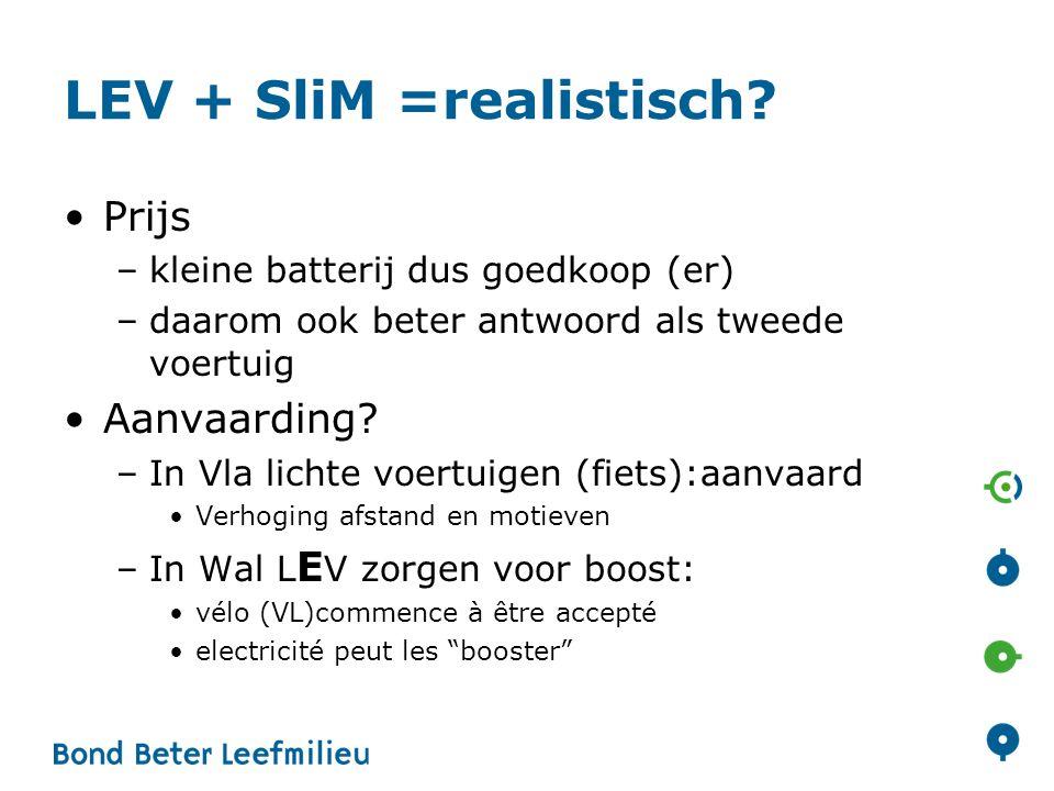 LEV + SliM =realistisch? Prijs –kleine batterij dus goedkoop (er) –daarom ook beter antwoord als tweede voertuig Aanvaarding? –In Vla lichte voertuige
