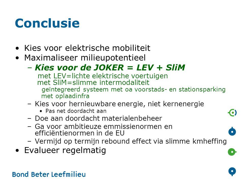 Conclusie Kies voor elektrische mobiliteit Maximaliseer milieupotentieel –Kies voor de JOKER = LEV + SliM met LEV=lichte elektrische voertuigen met Sl