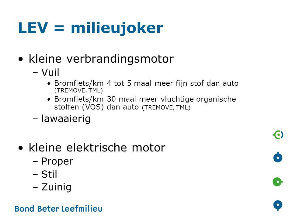 LEV = milieujoker kleine verbrandingsmotor –Vuil Bromfiets/km 4 tot 5 maal meer fijn stof dan auto (TREMOVE, TML) Bromfiets/km 30 maal meer vluchtige
