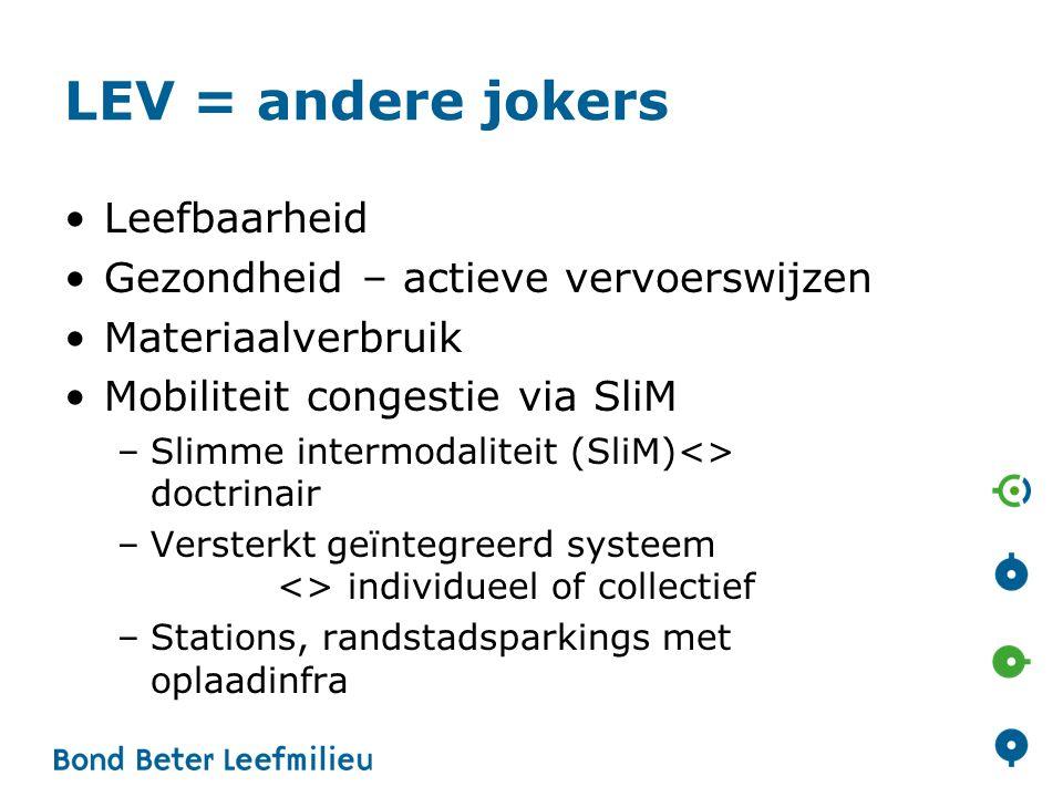 LEV = andere jokers Leefbaarheid Gezondheid – actieve vervoerswijzen Materiaalverbruik Mobiliteit congestie via SliM –Slimme intermodaliteit (SliM)<>