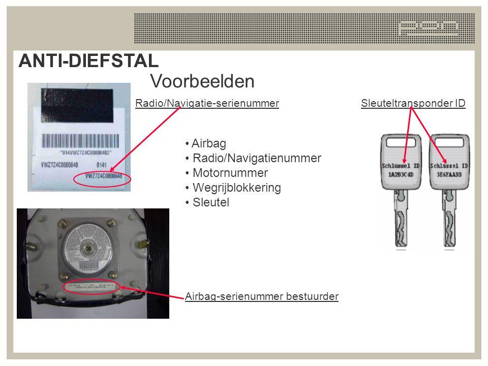 Voorbeelden Airbag Radio/Navigatienummer Motornummer Wegrijblokkering Sleutel Radio/Navigatie-serienummer Airbag-serienummer bestuurder Sleuteltranspo