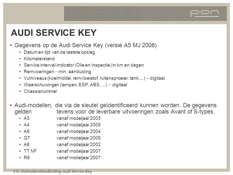 AUDI SERVICE KEY Gegevens op de Audi Service Key (versie A5 MJ 2008) Datum en tijd van de laatste opslag Kilometerstand Service interval-indicator (Ol