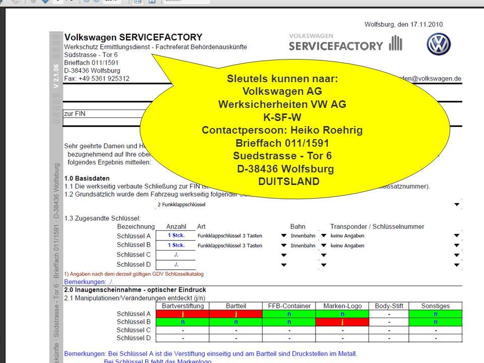 Sleutels kunnen naar: Volkswagen AG Werksicherheiten VW AG K-SF-W Contactpersoon: Heiko Roehrig Brieffach 011/1591 Suedstrasse - Tor 6 D-38436 Wolfsbu