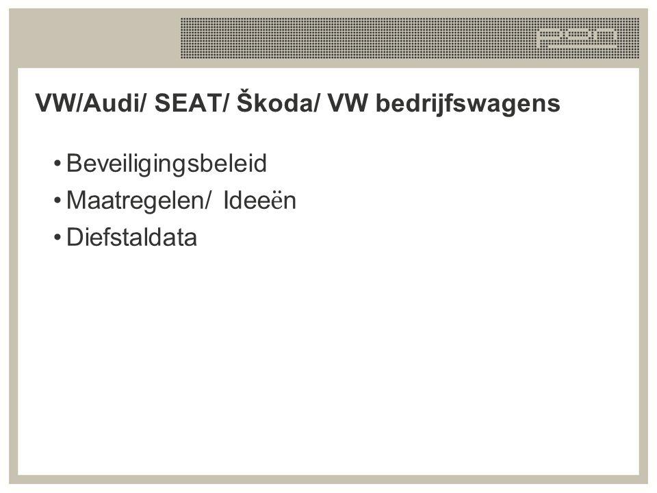 VW/Audi/ SEAT/ Škoda/ VW bedrijfswagens Beveiligingsbeleid Maatregelen/ Idee ë n Diefstaldata