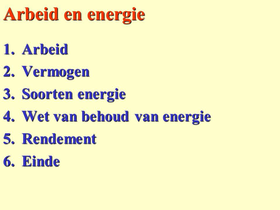 Arbeid en energie 1.Arbeid 2.Vermogen 3.Soorten energie 4.Wet van behoud van energie 5.Rendement 6.Einde
