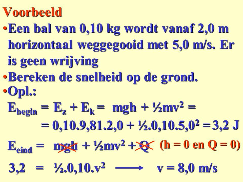 Een bal van 0,10 kg wordt vanaf 2,0 m horizontaal weggegooid met 5,0 m/s. Er is geen wrijvingEen bal van 0,10 kg wordt vanaf 2,0 m horizontaal weggego