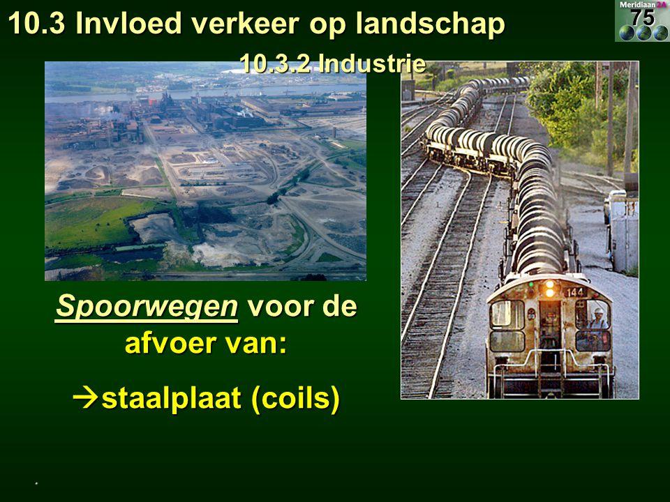 Spoorwegen voor de afvoer van:  staalplaat (coils) 10.3 Invloed verkeer op landschap 10.3.2 Industrie.75