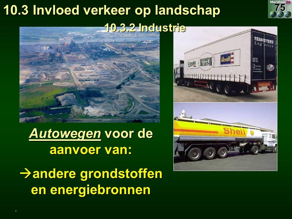 Autowegen voor de aanvoer van:  andere grondstoffen en energiebronnen 10.3 Invloed verkeer op landschap 10.3.2 Industrie.75