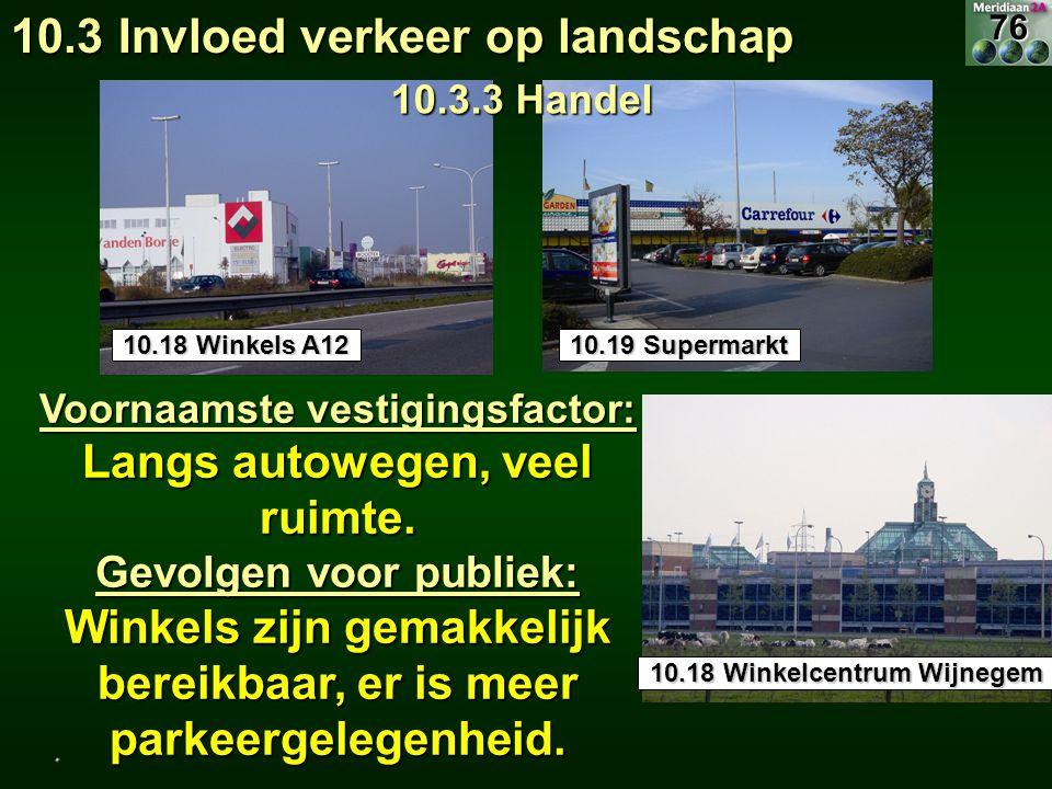 Voornaamste vestigingsfactor: Langs autowegen, veel ruimte. Gevolgen voor publiek: Winkels zijn gemakkelijk bereikbaar, er is meer parkeergelegenheid.
