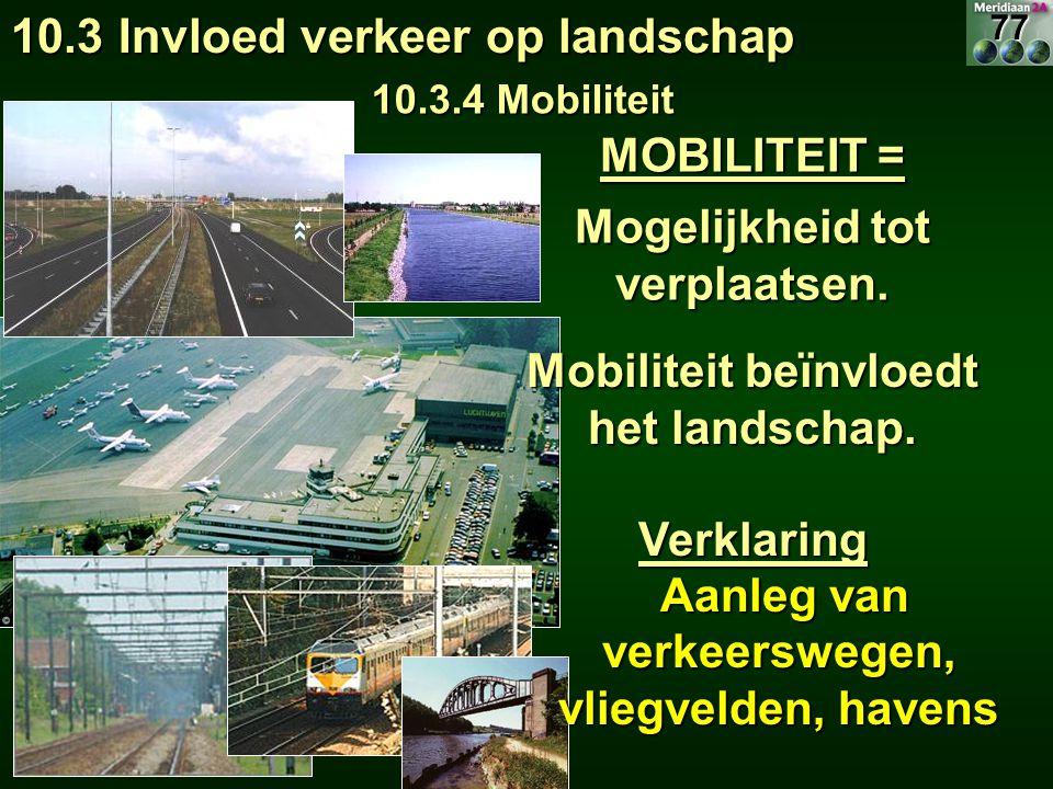 Mogelijkheid tot verplaatsen. 10.3 Invloed verkeer op landschap 10.3.4 Mobiliteit MOBILITEIT = Mobiliteit beïnvloedt het landschap. Verklaring Aanleg