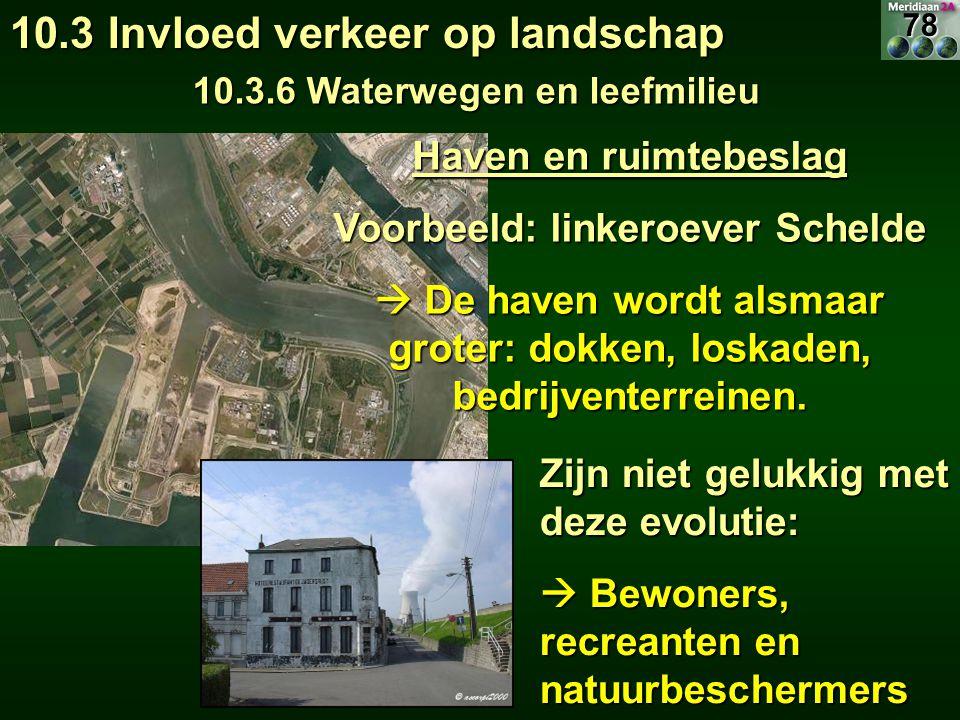 Haven en ruimtebeslag Voorbeeld: linkeroever Schelde  De haven wordt alsmaar groter: dokken, loskaden, bedrijventerreinen.
