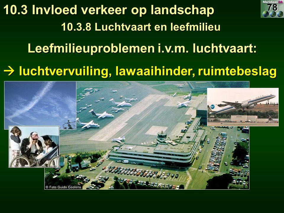 Leefmilieuproblemen i.v.m. luchtvaart: Leefmilieuproblemen i.v.m. luchtvaart:  luchtvervuiling, lawaaihinder, ruimtebeslag 10.3 Invloed verkeer op la