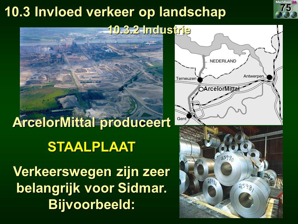 ArcelorMittal ArcelorMittal produceert STAALPLAAT Verkeerswegen zijn zeer belangrijk voor Sidmar. Bijvoorbeeld: 10.3 Invloed verkeer op landschap 10.3