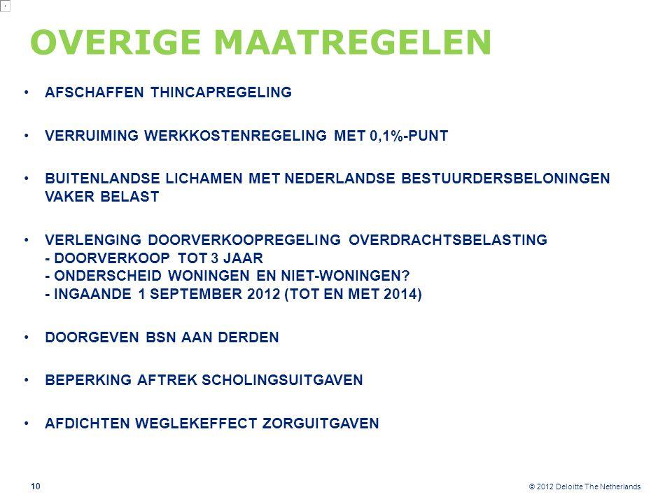 © 2012 Deloitte The Netherlands OVERIGE MAATREGELEN AFSCHAFFEN THINCAPREGELING VERRUIMING WERKKOSTENREGELING MET 0,1%-PUNT BUITENLANDSE LICHAMEN MET NEDERLANDSE BESTUURDERSBELONINGEN VAKER BELAST VERLENGING DOORVERKOOPREGELING OVERDRACHTSBELASTING - DOORVERKOOP TOT 3 JAAR - ONDERSCHEID WONINGEN EN NIET-WONINGEN.