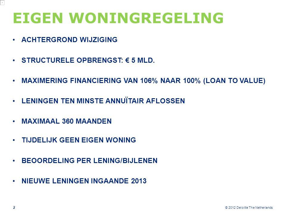 © 2012 Deloitte The Netherlands EIGEN WONINGREGELING ACHTERGROND WIJZIGING STRUCTURELE OPBRENGST: € 5 MLD. MAXIMERING FINANCIERING VAN 106% NAAR 100%