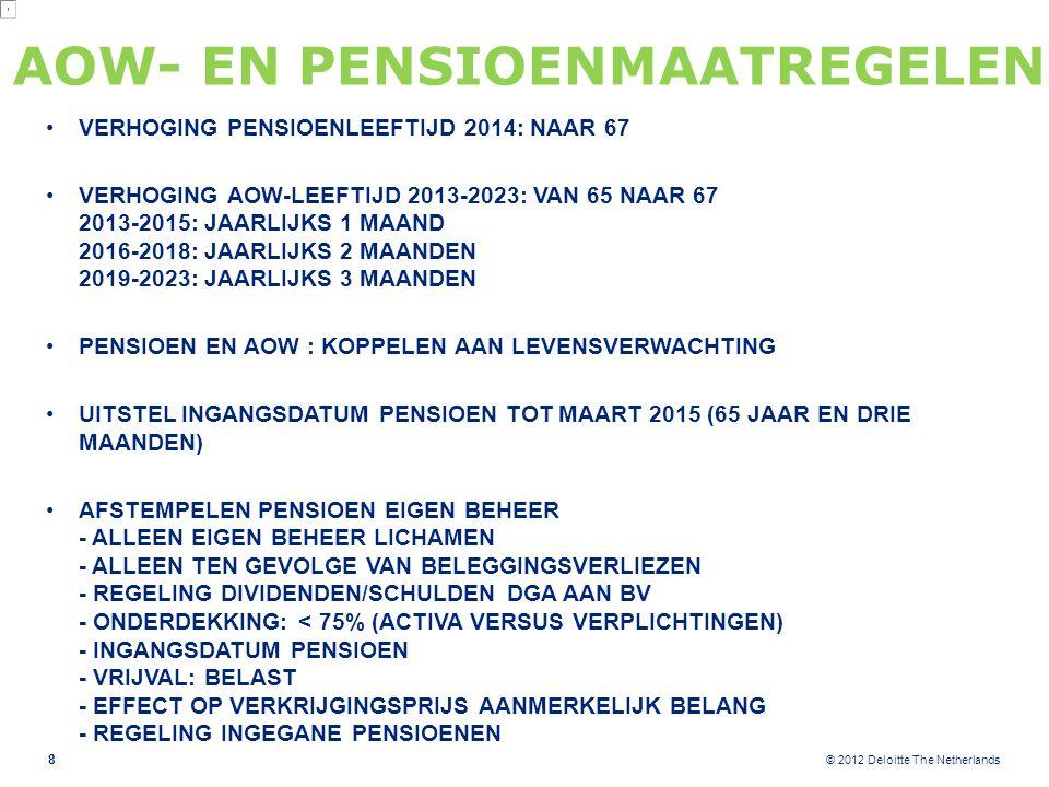 © 2012 Deloitte The Netherlands AOW- EN PENSIOENMAATREGELEN VERHOGING PENSIOENLEEFTIJD 2014: NAAR 67 VERHOGING AOW-LEEFTIJD 2013-2023: VAN 65 NAAR 67 2013-2015: JAARLIJKS 1 MAAND 2016-2018: JAARLIJKS 2 MAANDEN 2019-2023: JAARLIJKS 3 MAANDEN PENSIOEN EN AOW : KOPPELEN AAN LEVENSVERWACHTING UITSTEL INGANGSDATUM PENSIOEN TOT MAART 2015 (65 JAAR EN DRIE MAANDEN) AFSTEMPELEN PENSIOEN EIGEN BEHEER - ALLEEN EIGEN BEHEER LICHAMEN - ALLEEN TEN GEVOLGE VAN BELEGGINGSVERLIEZEN - REGELING DIVIDENDEN/SCHULDEN DGA AAN BV - ONDERDEKKING: < 75% (ACTIVA VERSUS VERPLICHTINGEN) - INGANGSDATUM PENSIOEN - VRIJVAL: BELAST - EFFECT OP VERKRIJGINGSPRIJS AANMERKELIJK BELANG - REGELING INGEGANE PENSIOENEN 8