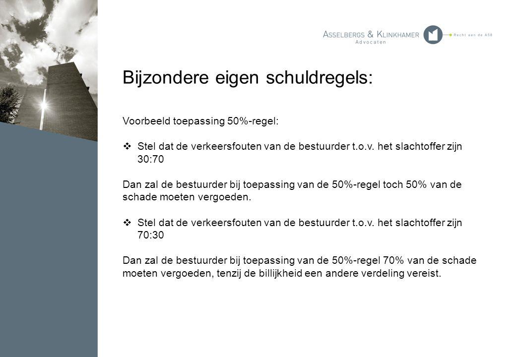 Bijzondere eigen schuldregels: Voorbeeld toepassing 50%-regel:  Stel dat de verkeersfouten van de bestuurder t.o.v. het slachtoffer zijn 30:70 Dan za