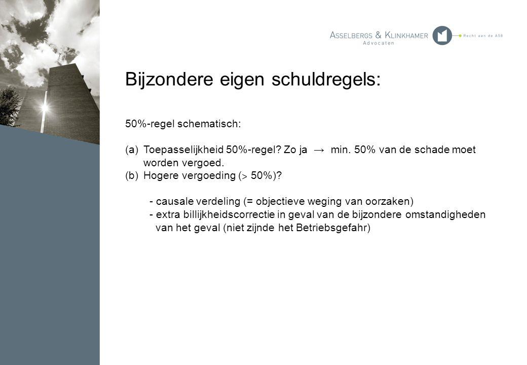 Bijzondere eigen schuldregels: 50%-regel schematisch: (a)Toepasselijkheid 50%-regel? Zo ja → min. 50% van de schade moet worden vergoed. (b)Hogere ver