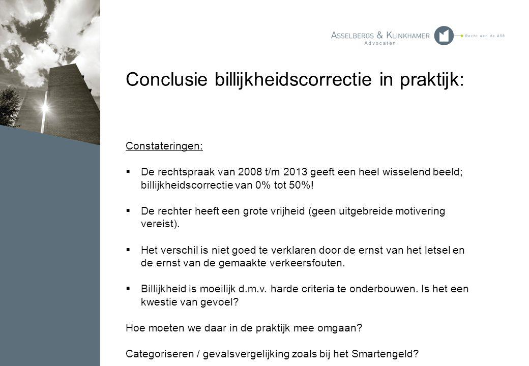 Conclusie billijkheidscorrectie in praktijk: Constateringen:  De rechtspraak van 2008 t/m 2013 geeft een heel wisselend beeld; billijkheidscorrectie