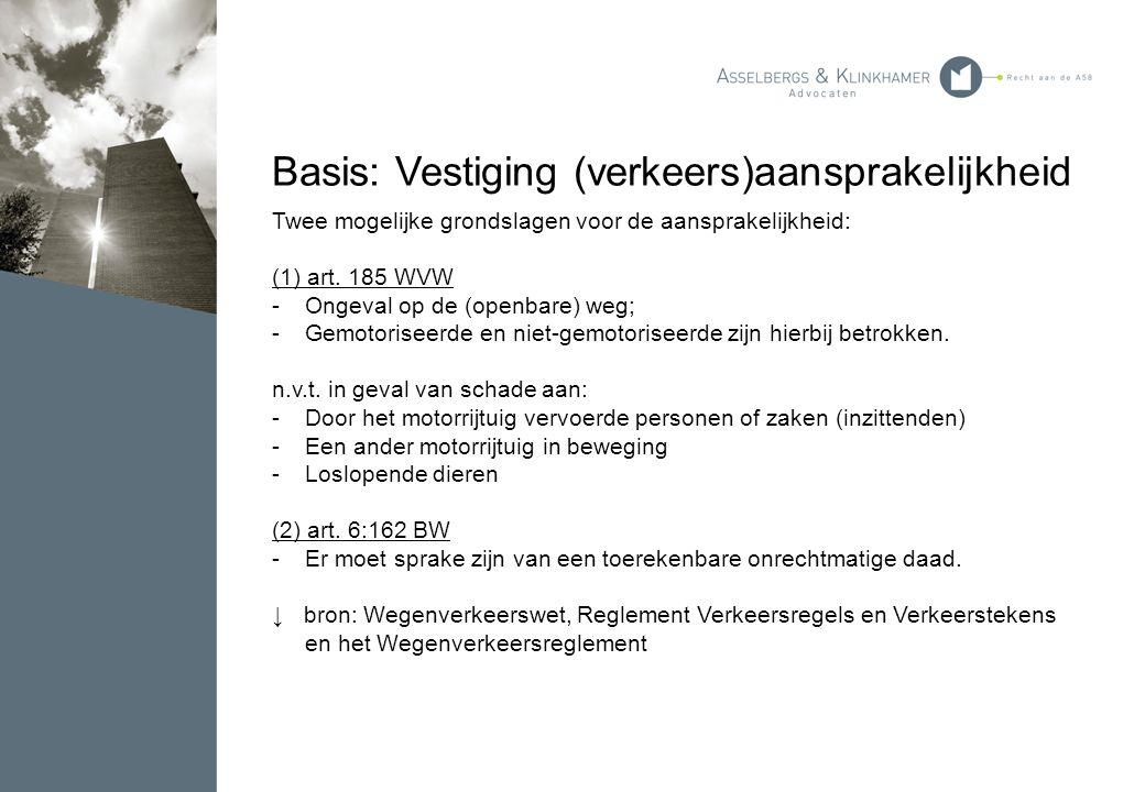 Basis: Vestiging (verkeers)aansprakelijkheid Twee mogelijke grondslagen voor de aansprakelijkheid: (1) art. 185 WVW -Ongeval op de (openbare) weg; -Ge