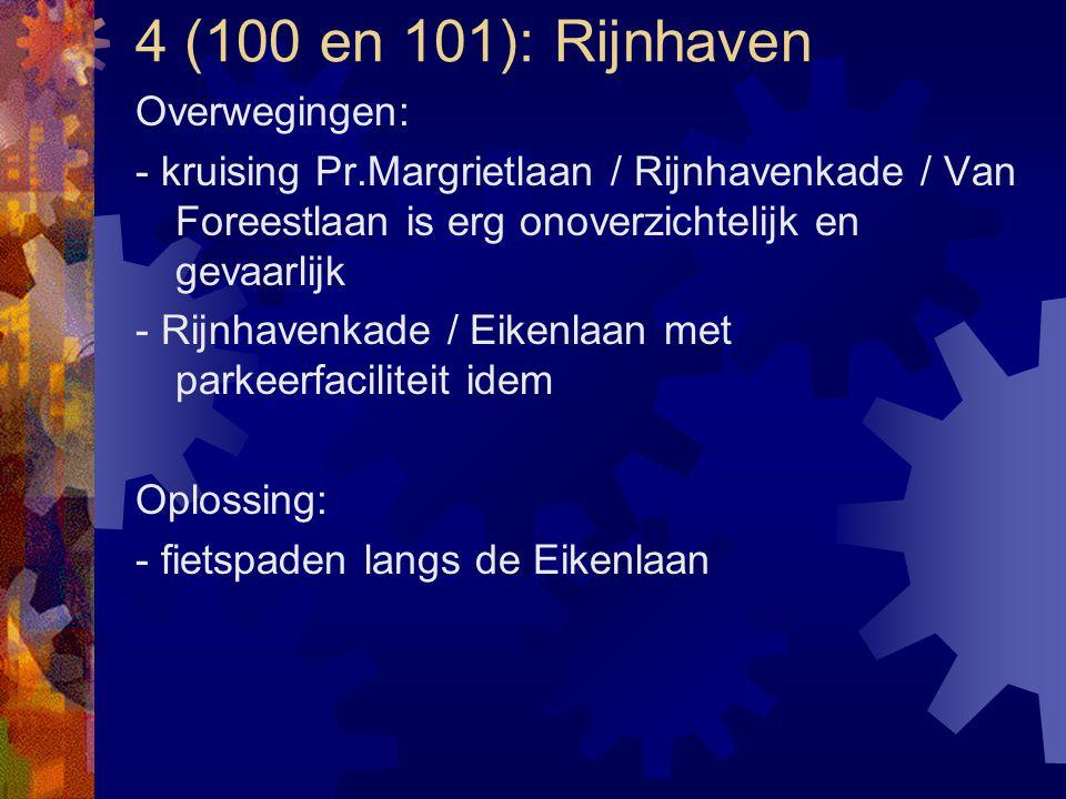 4 (100 en 101): Rijnhaven Overwegingen: - kruising Pr.Margrietlaan / Rijnhavenkade / Van Foreestlaan is erg onoverzichtelijk en gevaarlijk - Rijnhaven