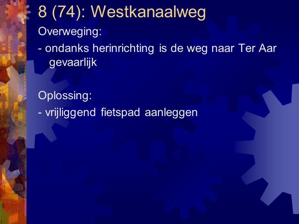 8 (74): Westkanaalweg Overweging: - ondanks herinrichting is de weg naar Ter Aar gevaarlijk Oplossing: - vrijliggend fietspad aanleggen