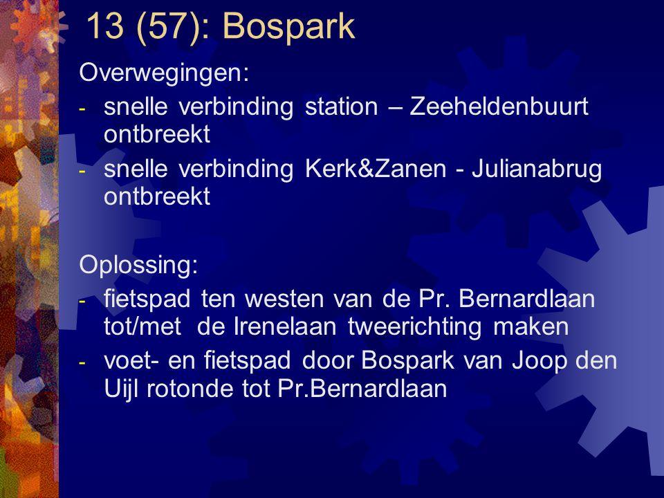 13 (57): Bospark Overwegingen: - snelle verbinding station – Zeeheldenbuurt ontbreekt - snelle verbinding Kerk&Zanen - Julianabrug ontbreekt Oplossing