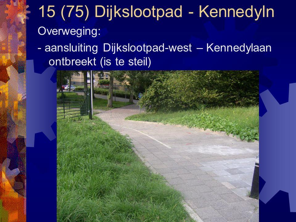15 (75) Dijkslootpad - Kennedyln Overweging: - aansluiting Dijkslootpad-west – Kennedylaan ontbreekt (is te steil)