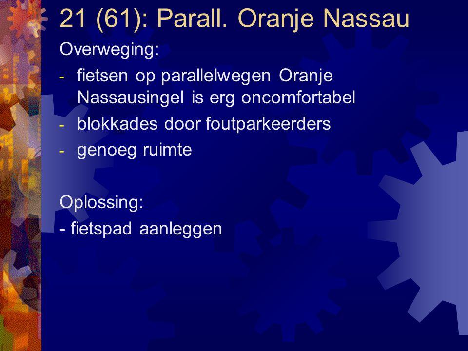 21 (61): Parall. Oranje Nassau Overweging: - fietsen op parallelwegen Oranje Nassausingel is erg oncomfortabel - blokkades door foutparkeerders - geno
