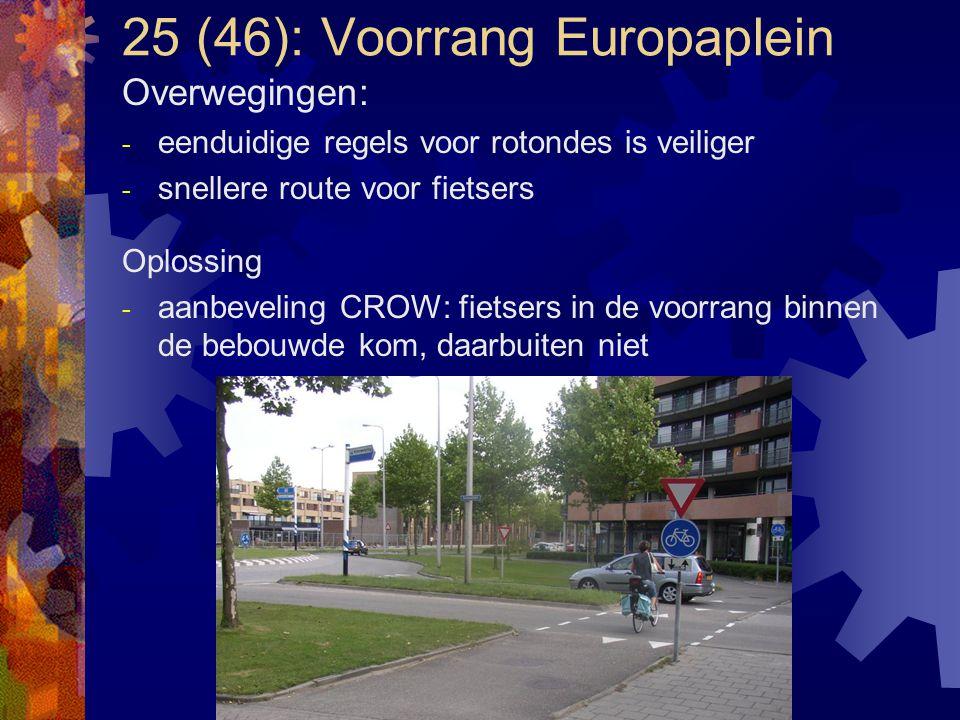 25 (46): Voorrang Europaplein Overwegingen: - eenduidige regels voor rotondes is veiliger - snellere route voor fietsers Oplossing - aanbeveling CROW: