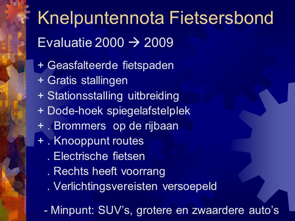 Evaluatie 2000  2009 + Geasfalteerde fietspaden + Gratis stallingen + Stationsstalling uitbreiding + Dode-hoek spiegelafstelplek +. Brommers op de ri