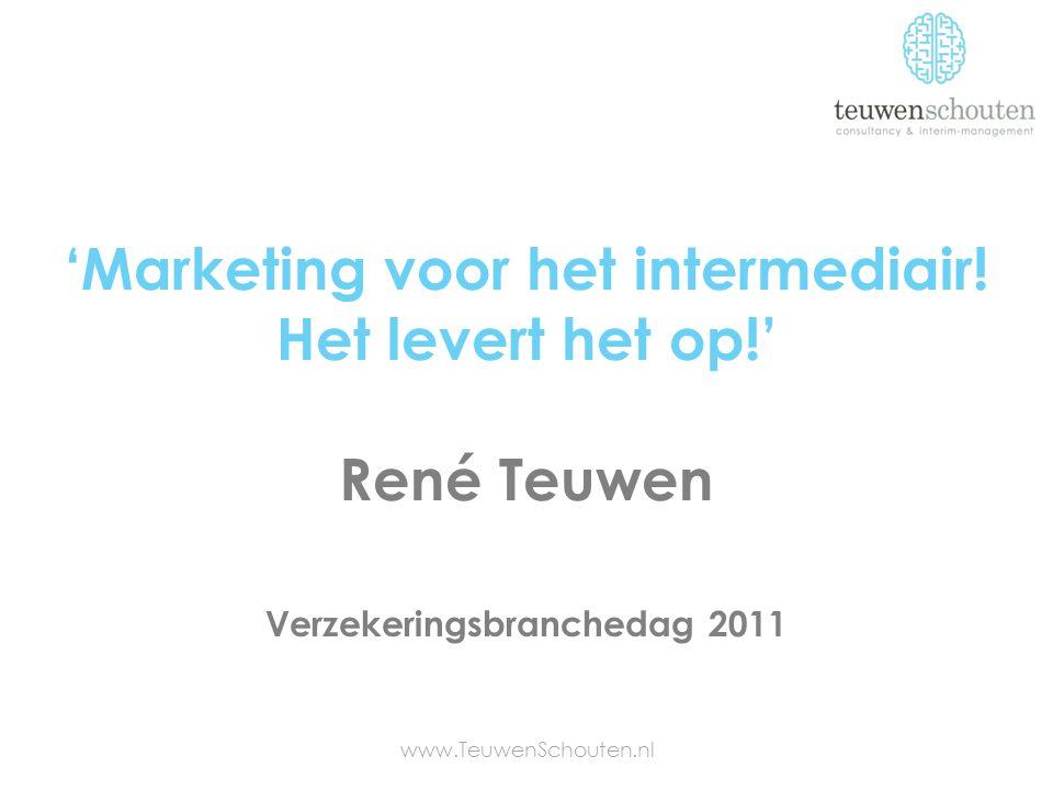 'Marketing voor het intermediair! Het levert het op!' René Teuwen www.TeuwenSchouten.nl Verzekeringsbranchedag 2011