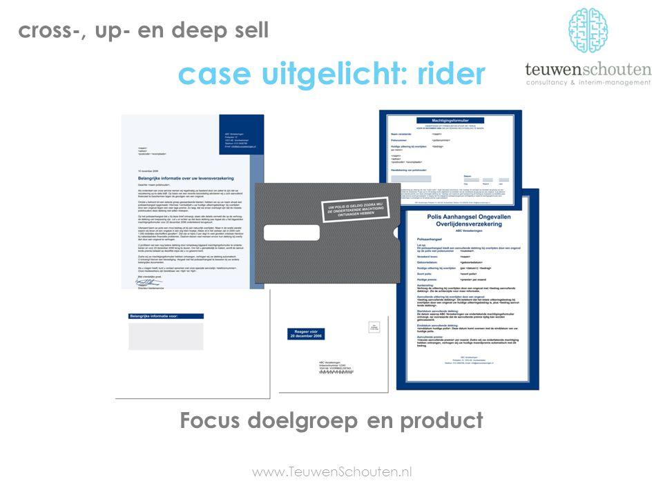 case uitgelicht: rider www.TeuwenSchouten.nl cross-, up- en deep sell Focus doelgroep en product
