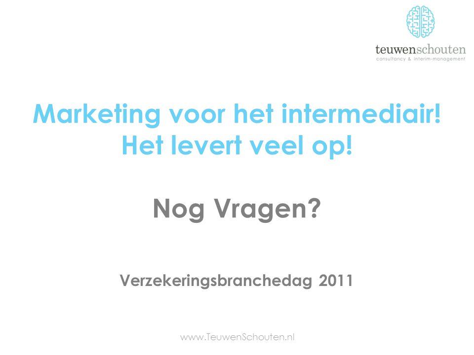Marketing voor het intermediair! Het levert veel op! Nog Vragen? www.TeuwenSchouten.nl Verzekeringsbranchedag 2011