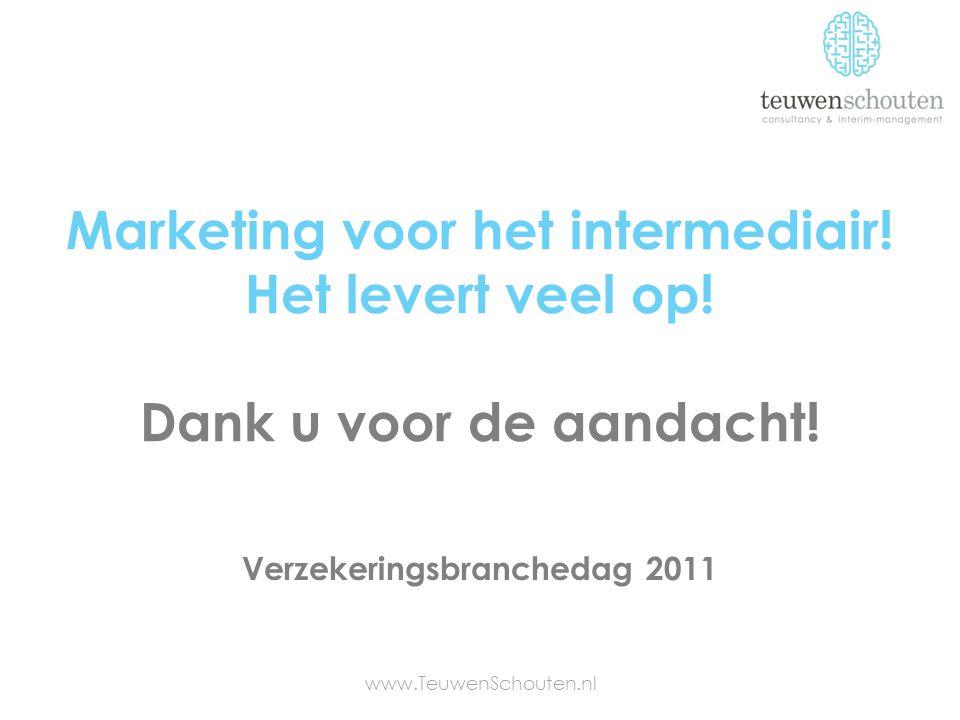 Marketing voor het intermediair! Het levert veel op! Dank u voor de aandacht! www.TeuwenSchouten.nl Verzekeringsbranchedag 2011