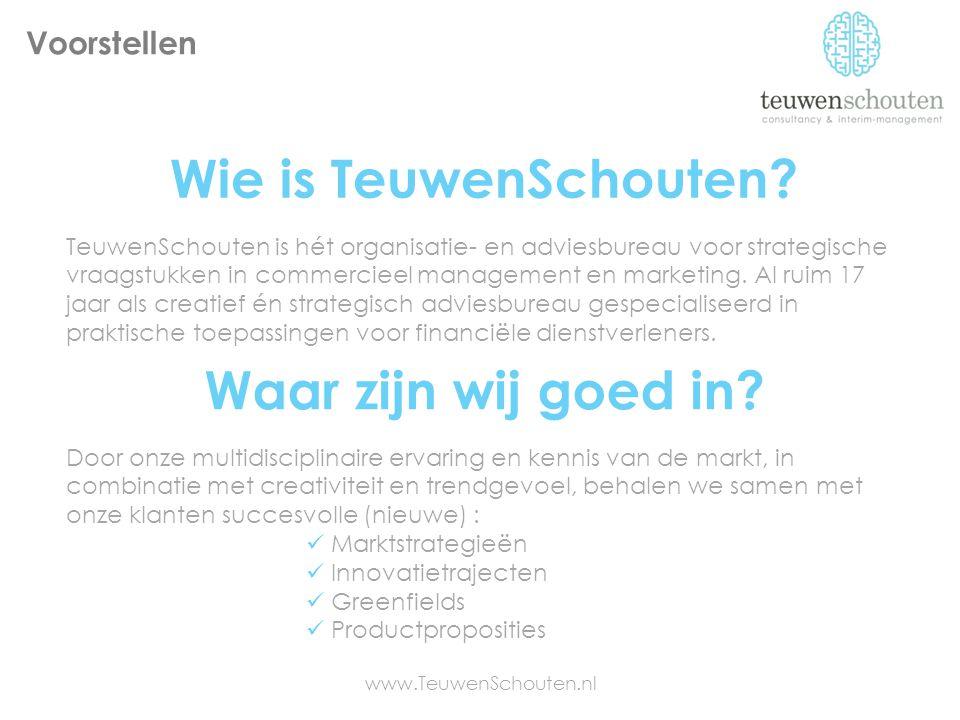Wie is TeuwenSchouten? TeuwenSchouten is hét organisatie- en adviesbureau voor strategische vraagstukken in commercieel management en marketing. Al ru