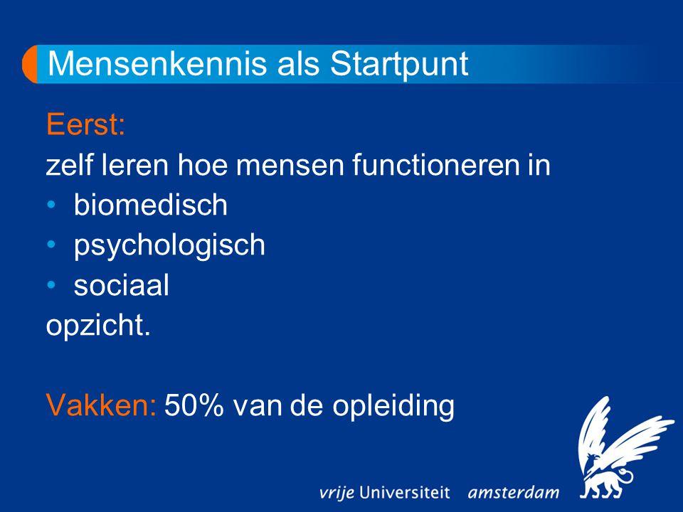 Mensenkennis als Startpunt Eerst: zelf leren hoe mensen functioneren in biomedisch psychologisch sociaal opzicht.