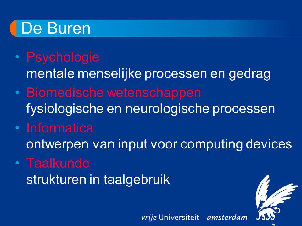 De Buren 5 Psychologie mentale menselijke processen en gedrag Biomedische wetenschappen fysiologische en neurologische processen Informatica ontwerpen van input voor computing devices Taalkunde strukturen in taalgebruik