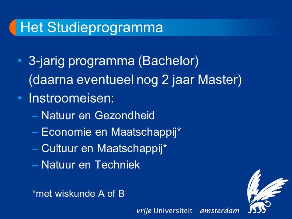 Het Studieprogramma 3-jarig programma (Bachelor) (daarna eventueel nog 2 jaar Master) Instroomeisen: –Natuur en Gezondheid –Economie en Maatschappij* –Cultuur en Maatschappij* –Natuur en Techniek *met wiskunde A of B