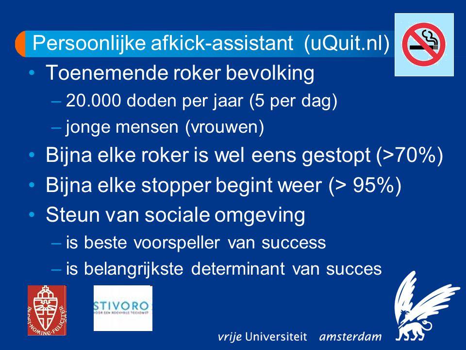 Persoonlijke afkick-assistant (uQuit.nl) Toenemende roker bevolking –20.000 doden per jaar (5 per dag) –jonge mensen (vrouwen) Bijna elke roker is wel eens gestopt (>70%) Bijna elke stopper begint weer (> 95%) Steun van sociale omgeving –is beste voorspeller van success –is belangrijkste determinant van succes