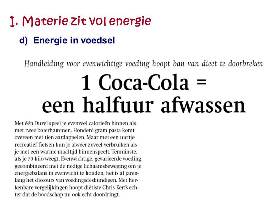 I. Materie zit vol energie d) Energie in voedsel