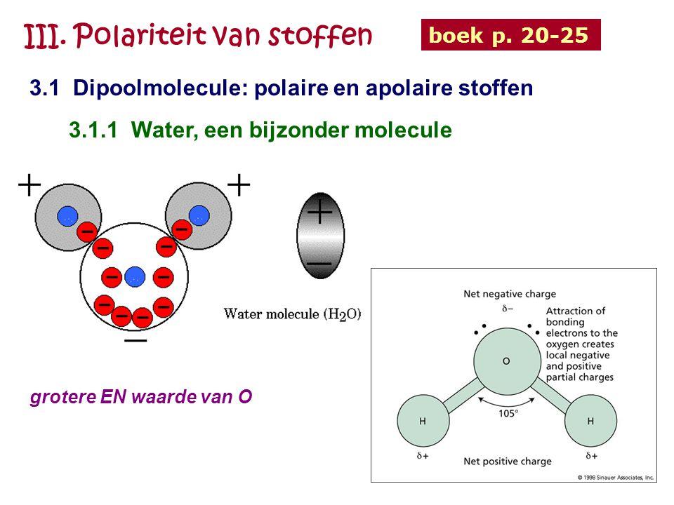 III. Polariteit van stoffen 3.1 Dipoolmolecule: polaire en apolaire stoffen boek p. 20-25 3.1.1 Water, een bijzonder molecule grotere EN waarde van O
