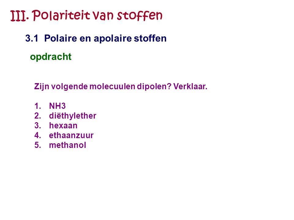 III. Polariteit van stoffen 3.1 Polaire en apolaire stoffen opdracht Zijn volgende molecuulen dipolen? Verklaar. 1.NH3 2.diëthylether 3.hexaan 4.ethaa