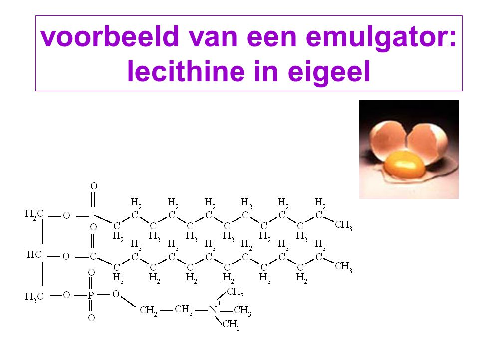 voorbeeld van een emulgator: lecithine in eigeel
