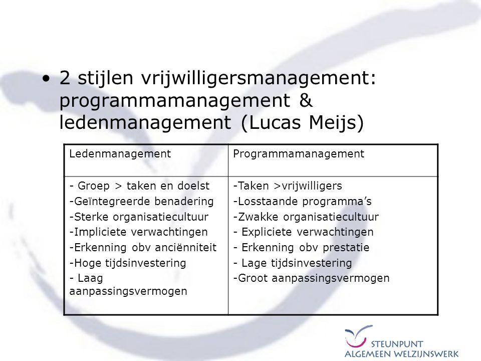 2 stijlen vrijwilligersmanagement: programmamanagement & ledenmanagement (Lucas Meijs) LedenmanagementProgrammamanagement - Groep > taken en doelst -G