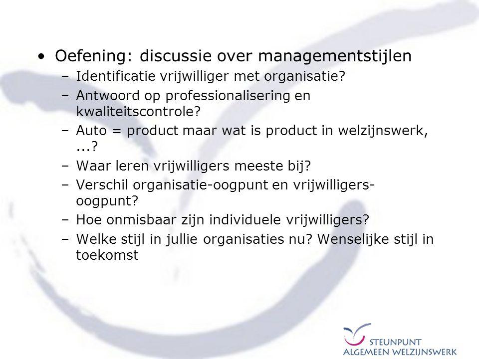 Oefening: discussie over managementstijlen –Identificatie vrijwilliger met organisatie? –Antwoord op professionalisering en kwaliteitscontrole? –Auto