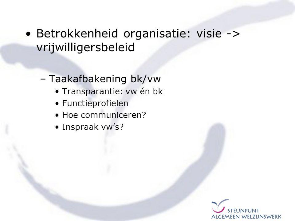 Betrokkenheid organisatie: visie -> vrijwilligersbeleid –Taakafbakening bk/vw Transparantie: vw én bk Functieprofielen Hoe communiceren? Inspraak vw's