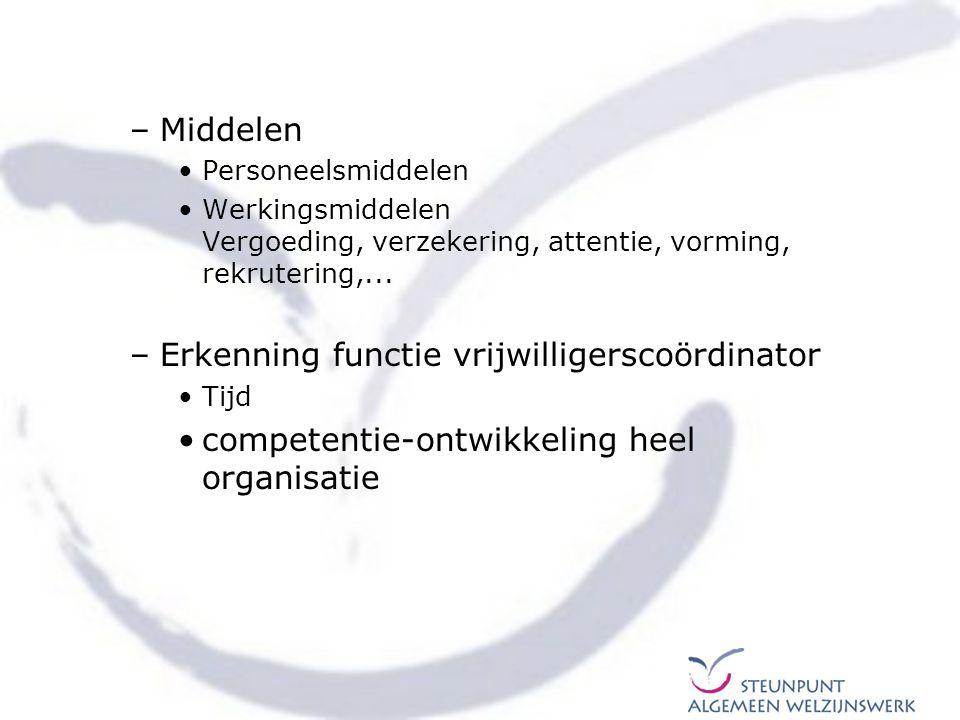 –Middelen Personeelsmiddelen Werkingsmiddelen Vergoeding, verzekering, attentie, vorming, rekrutering,... –Erkenning functie vrijwilligerscoördinator