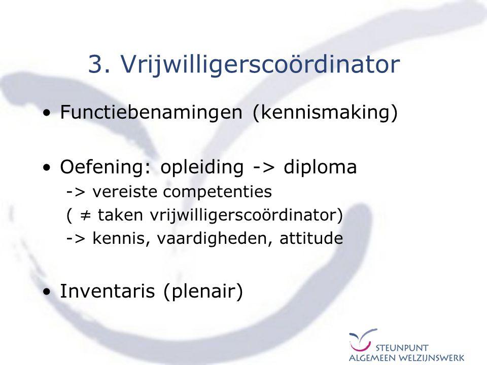 3. Vrijwilligerscoördinator Functiebenamingen (kennismaking) Oefening: opleiding -> diploma -> vereiste competenties ( ≠ taken vrijwilligerscoördinato