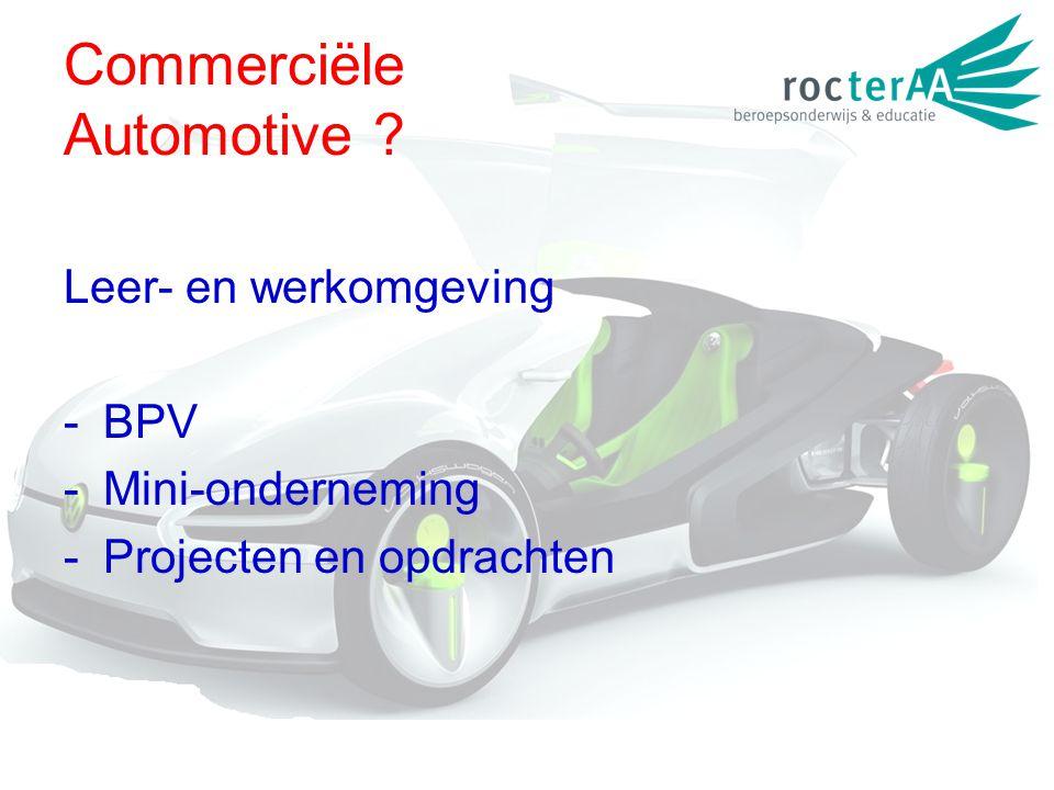 Commerciële Automotive ? Leer- en werkomgeving -BPV -Mini-onderneming -Projecten en opdrachten
